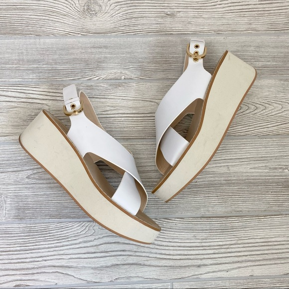 Zara Woman Platform White Sandals